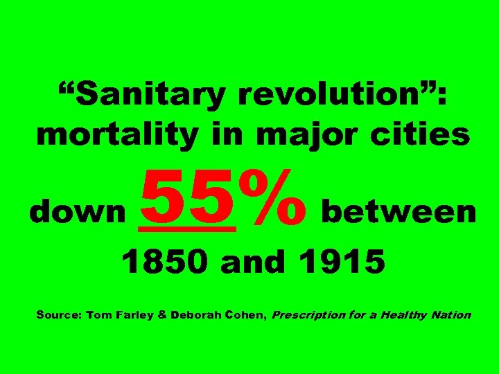 """Sanitary revolution"": mortality in major cities down 55% between 1850 and 1915 Source: Tom"