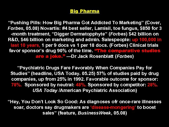 "Big Pharma ""Pushing Pills: How Big Pharma Got Addicted To Marketing"" (Cover, Forbes, 05."