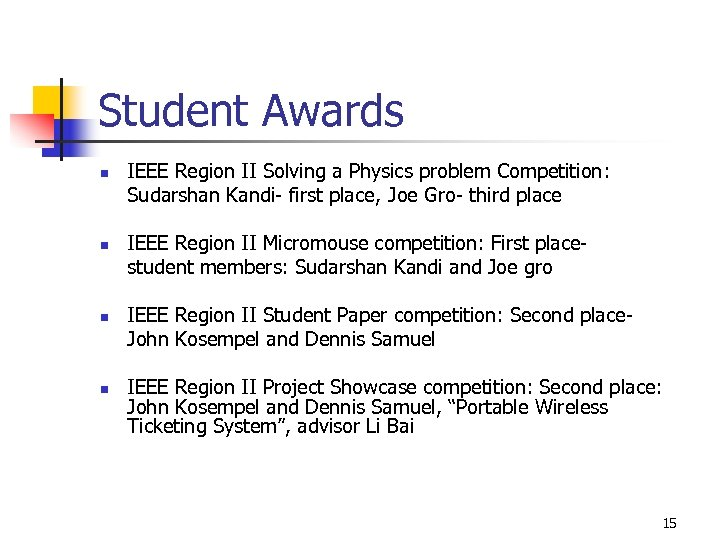Student Awards n n IEEE Region II Solving a Physics problem Competition: Sudarshan Kandi-