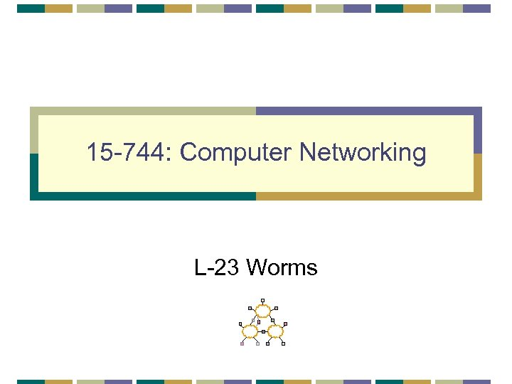 15 -744: Computer Networking L-23 Worms