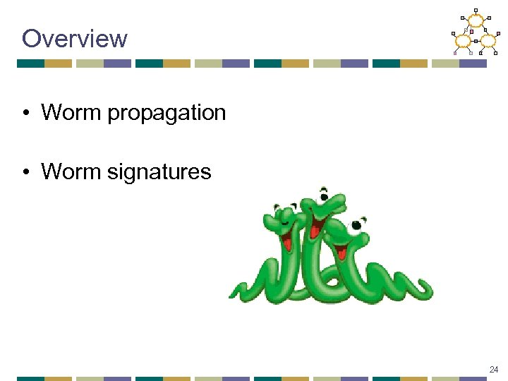 Overview • Worm propagation • Worm signatures 24