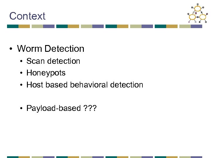 Context • Worm Detection • Scan detection • Honeypots • Host based behavioral detection