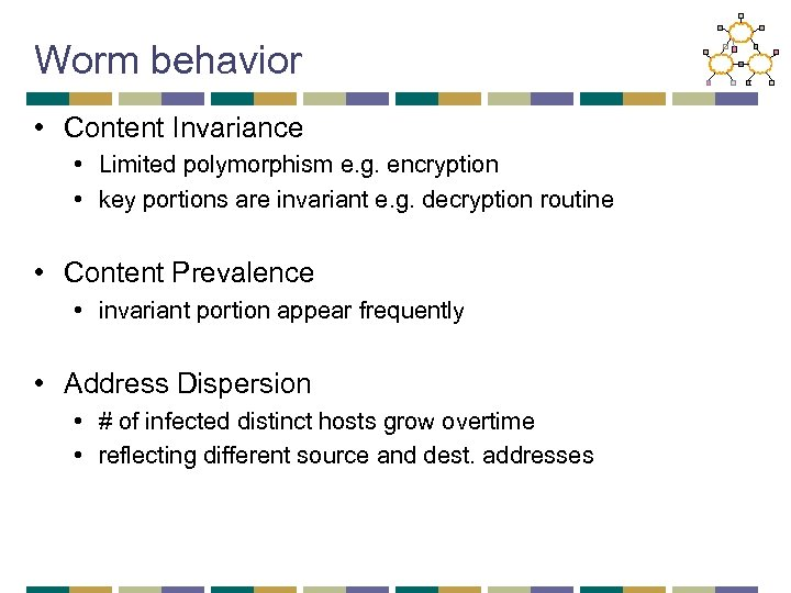 Worm behavior • Content Invariance • Limited polymorphism e. g. encryption • key portions