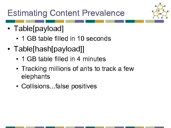 Estimating Content Prevalence • Table[payload] • 1 GB table filled in 10 seconds •