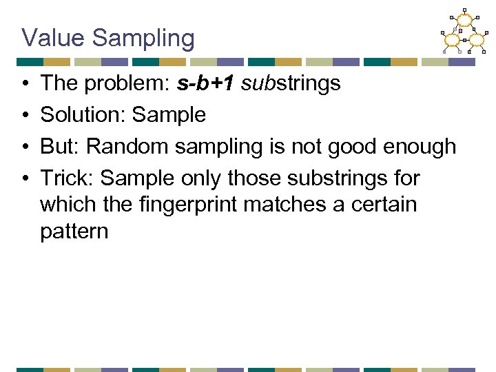 Value Sampling • • The problem: s-b+1 substrings Solution: Sample But: Random sampling is