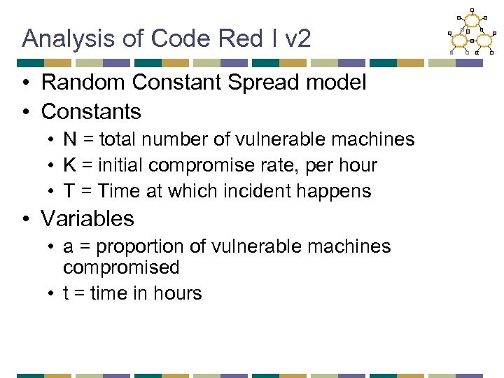 Analysis of Code Red I v 2 • Random Constant Spread model • Constants