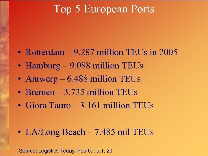 Top 5 European Ports • • • Rotterdam – 9. 287 million TEUs in