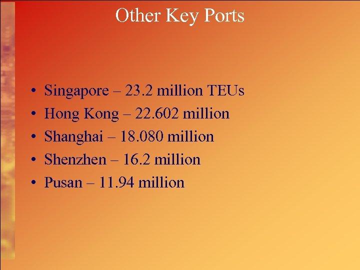 Other Key Ports • • • Singapore – 23. 2 million TEUs Hong Kong