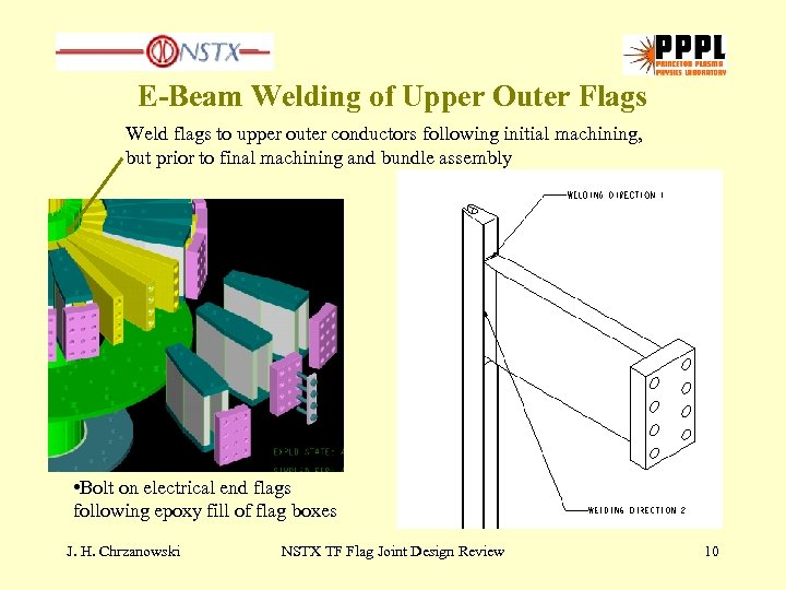 E-Beam Welding of Upper Outer Flags Weld flags to upper outer conductors following initial