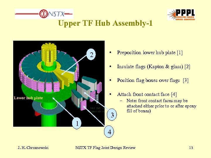 Upper TF Hub Assembly-1 Preposition lower hub plate [1] Insulate flags (Kapton & glass)