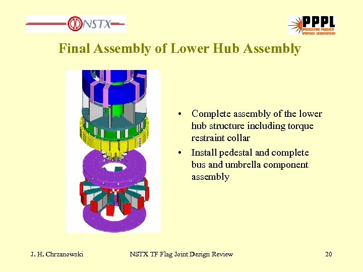 Final Assembly of Lower Hub Assembly • Complete assembly of the lower hub structure