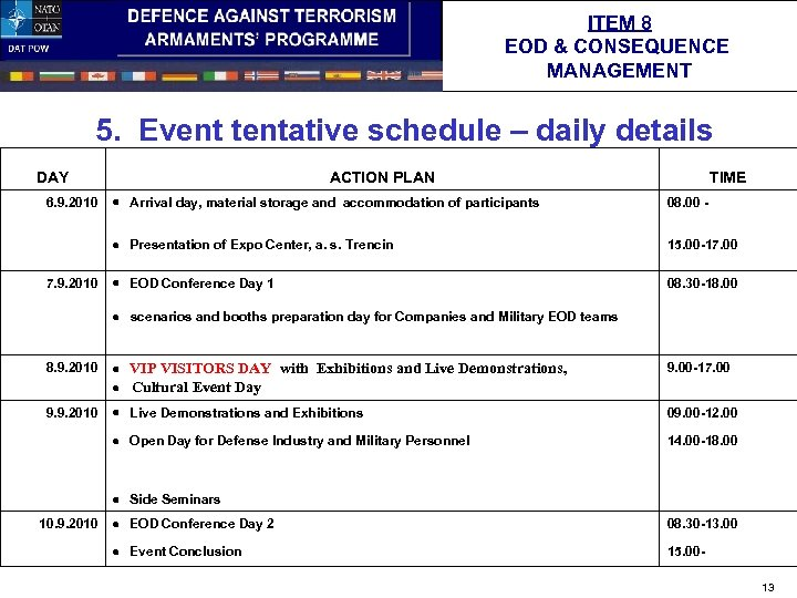 ITEM 8 EOD & CONSEQUENCE MANAGEMENT 5. Event tentative schedule – daily details DAY