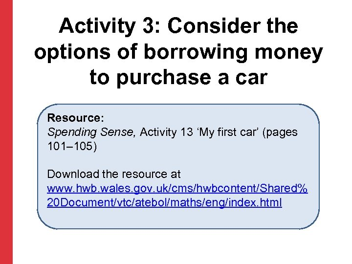 Activity 3: Consider the options of borrowing money to purchase a car Resource: Spending