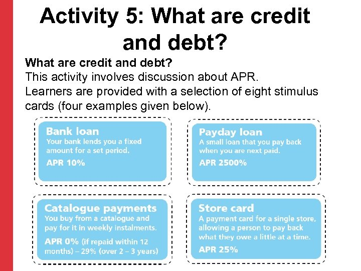 Activity 5: What are credit and debt? This activity involves discussion about APR. Learners