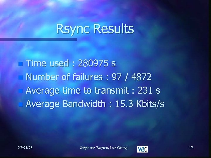 Rsync Results Time used : 280975 s n Number of failures : 97 /
