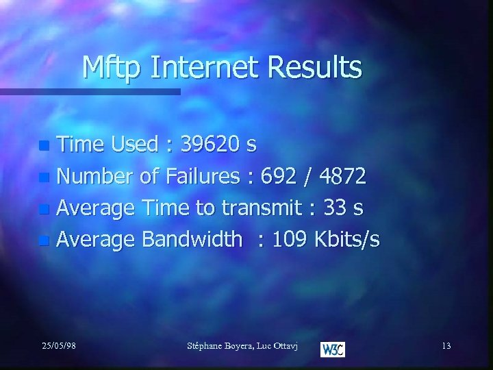 Mftp Internet Results Time Used : 39620 s n Number of Failures : 692