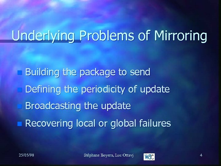 Underlying Problems of Mirroring n Building the package to send n Defining the periodicity