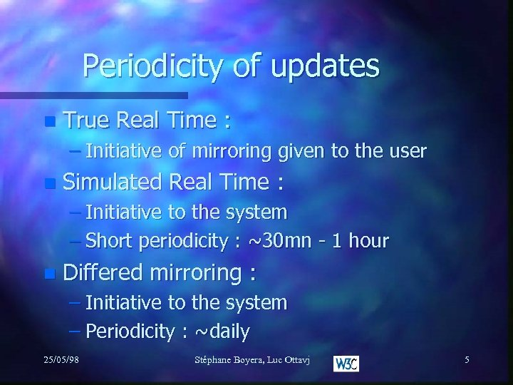 Periodicity of updates n True Real Time : – Initiative of mirroring given to