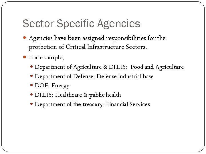 Sector Specific Agencies have been assigned responsibilities for the protection of Critical Infrastructure Sectors.
