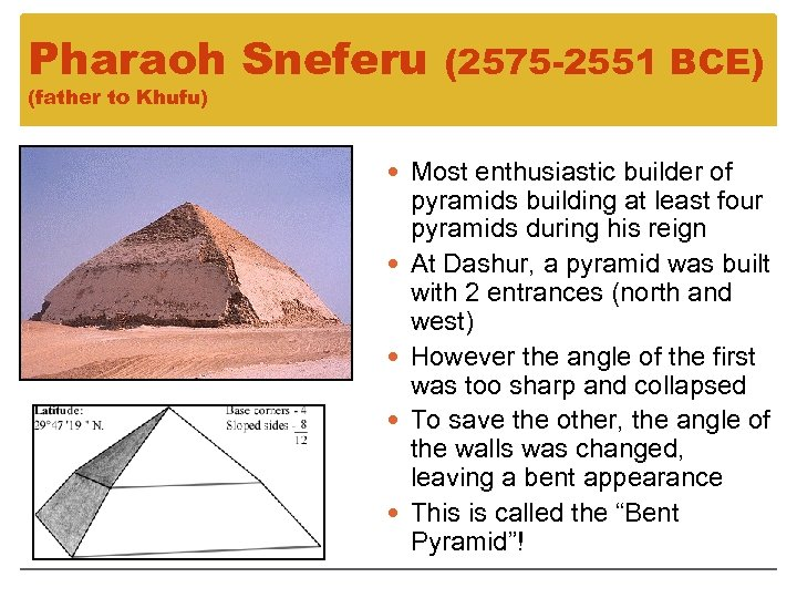 Pharaoh Sneferu (father to Khufu) (2575 -2551 BCE) Most enthusiastic builder of pyramids building
