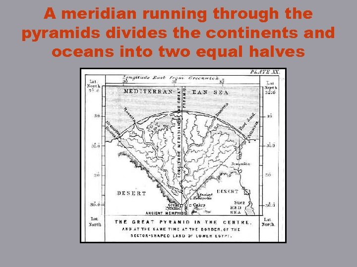 A meridian running through the pyramids divides the continents and oceans into two equal