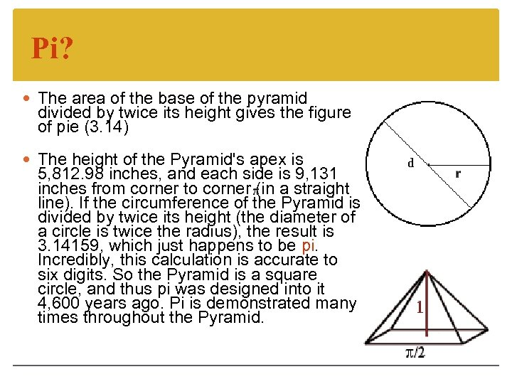 Pi? The area of the base of the pyramid divided by twice its height