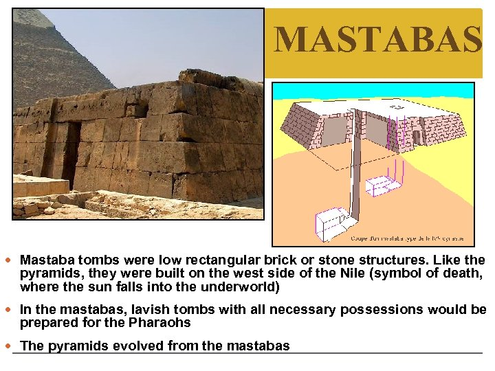 MASTABAS Mastaba tombs were low rectangular brick or stone structures. Like the pyramids, they