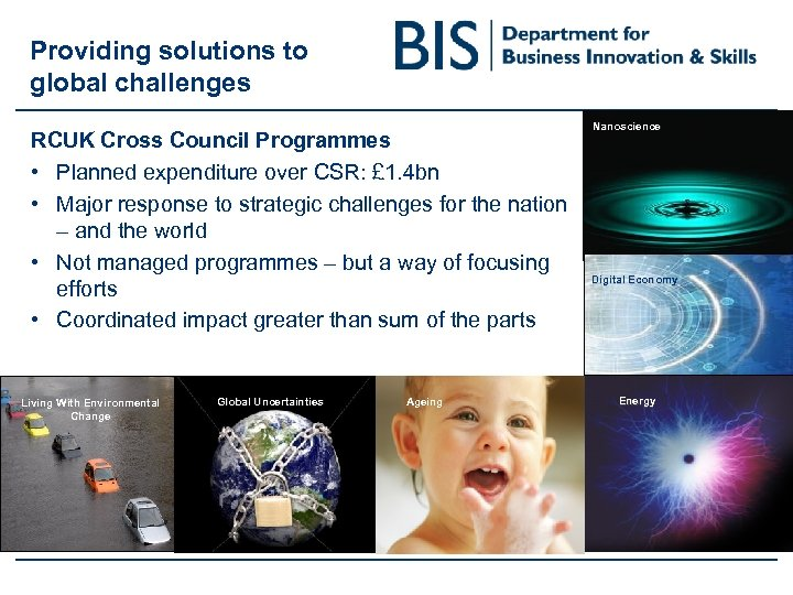 Providing solutions to global challenges RCUK Cross Council Programmes • Planned expenditure over CSR: