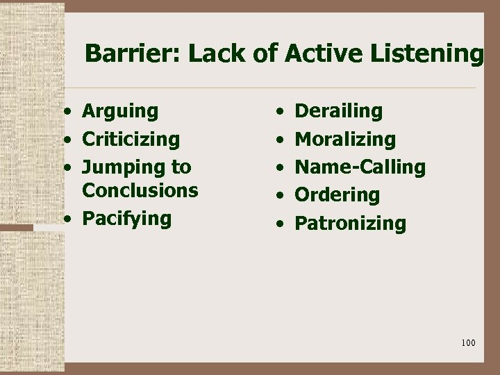Barrier: Lack of Active Listening • Arguing • Criticizing • Jumping to Conclusions •