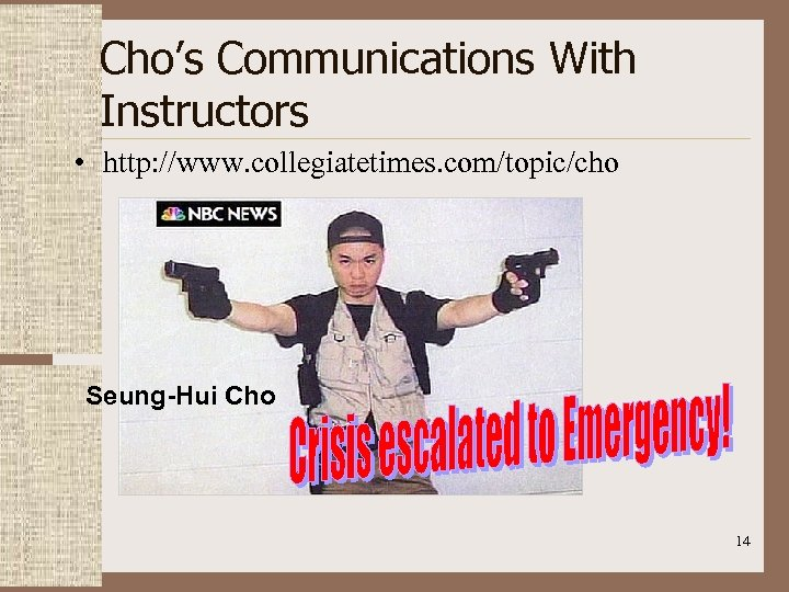 Cho's Communications With Instructors • http: //www. collegiatetimes. com/topic/cho Seung-Hui Cho 14