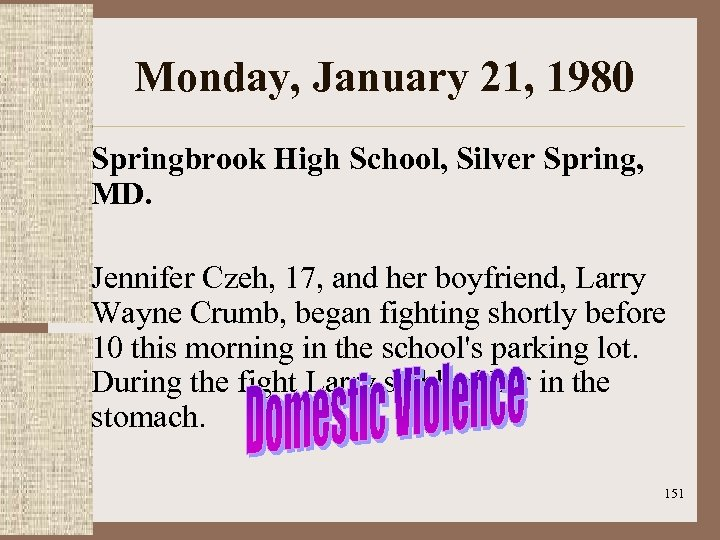 Monday, January 21, 1980 Springbrook High School, Silver Spring, MD. Jennifer Czeh, 17, and