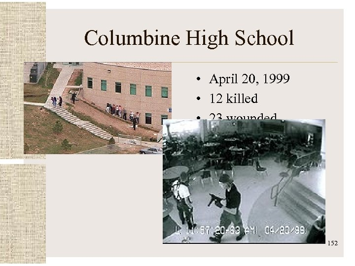 Columbine High School • April 20, 1999 • 12 killed • 23 wounded 152