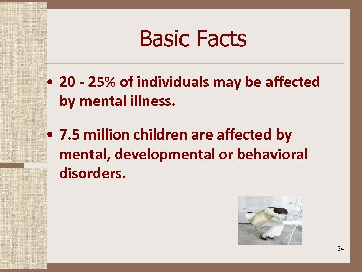 Basic Facts • 20 - 25% of individuals may be affected by mental illness.