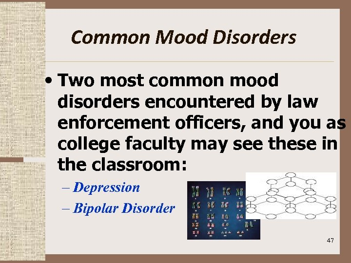 Common Mood Disorders • Two most common mood disorders encountered by law enforcement officers,