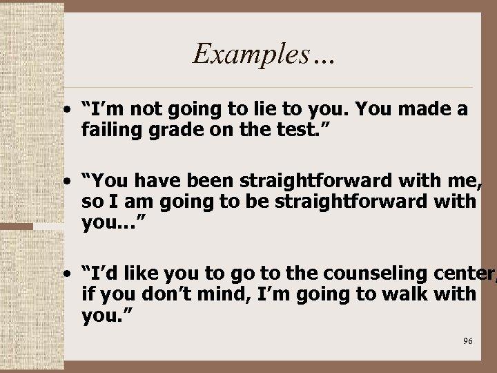 "Examples… • ""I'm not going to lie to you. You made a failing grade"