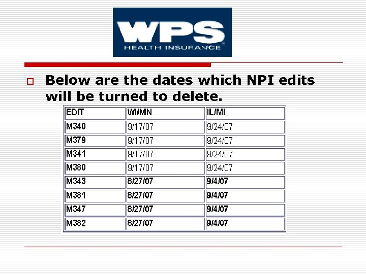 o Below are the dates which NPI edits will be turned to delete.