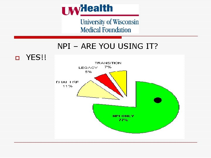 NPI – ARE YOU USING IT? o YES!!