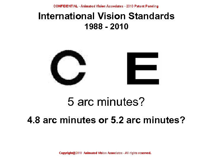 International Vision Standards 1988 - 2010 5 arc minutes? 4. 8 arc minutes or