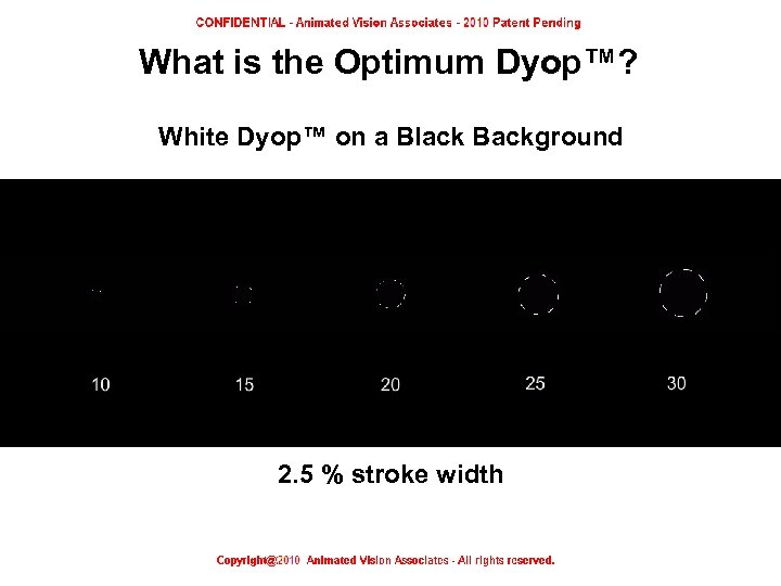 What is the Optimum Dyop™? White Dyop™ on a Black Background 2. 5 %