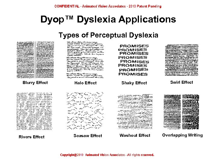 Dyop™ Dyslexia Applications Types of Perceptual Dyslexia Blurry Effect Rivers Effect Perceptual Dyslexia –