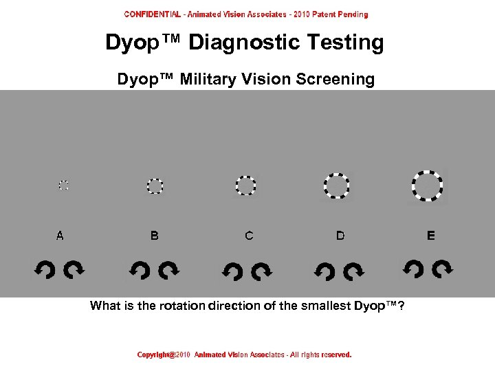 Dyop™ Diagnostic Testing Dyop™ Military Vision Screening What is the rotation direction of the