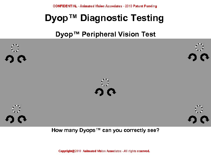 Dyop™ Diagnostic Testing Dyop™ Peripheral Vision Test How many Dyops™ can you correctly see?