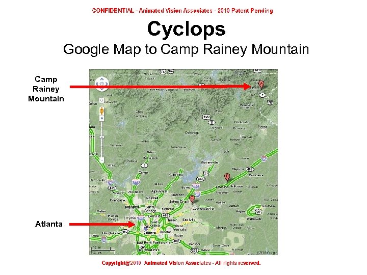 Cyclops Google Map to Camp Rainey Mountain Atlanta