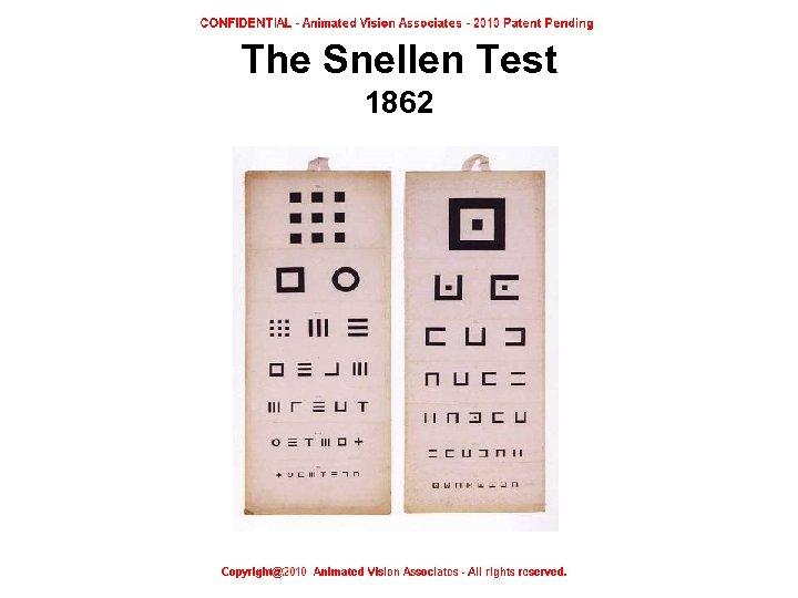 The Snellen Test 1862