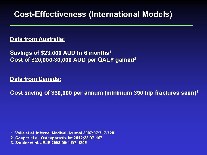 Cost-Effectiveness (International Models) Data from Australia: Savings of $23, 000 AUD in 6 months