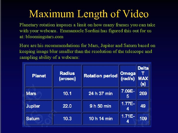 Maximum Length of Video Planetary rotation imposes a limit on how many frames you