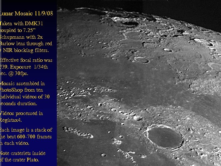 """Lunar Mosaic 11/9/08 Taken with DMK 31 coupled to 7. 25"""" Schupmann with 2"""