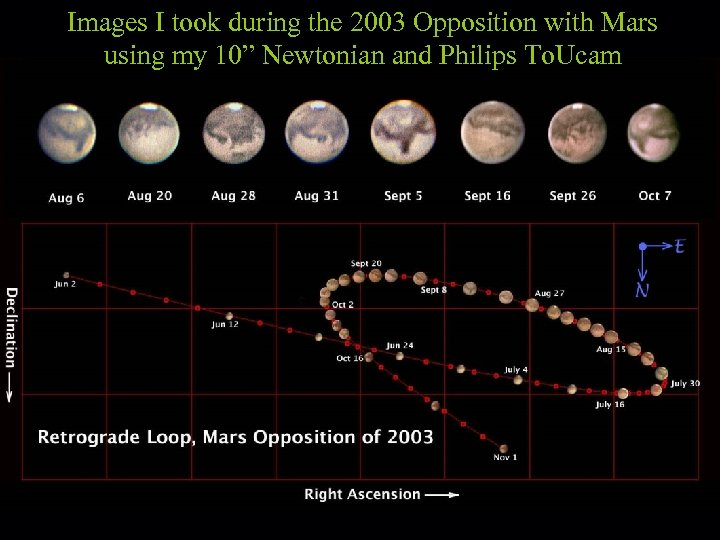 """Images I took during the 2003 Opposition with Mars using my 10"""" Newtonian and"""