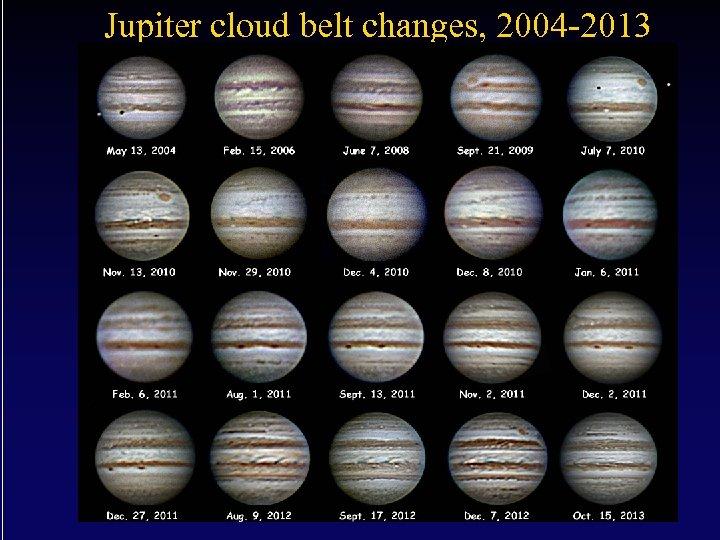 Jupiter cloud belt changes, 2004 -2013