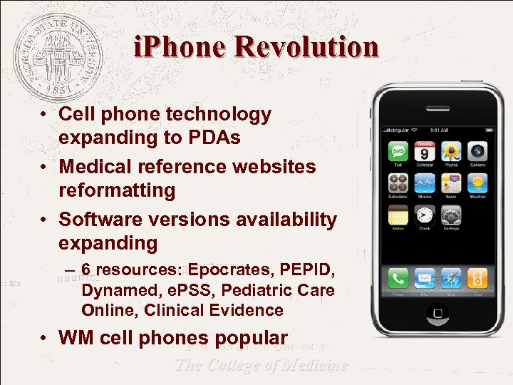 i. Phone Revolution • Cell phone technology expanding to PDAs • Medical reference websites
